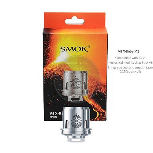 Smok TFV8 X-Baby Coils 3er Pack Verdamferköpfe Größe 0,25Ohm SS316L M2 Core