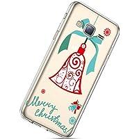 Handytasche Samsung Galaxy J3 2016 Weihnachten Silikon Hülle Crystal Clear Durchsichtige Hülle Ultradünn Transparent Handyhüllen TPU Bumper Case Cover,Ring