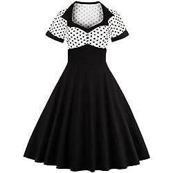 VKstar® – Vestido de cóctel de manga corta, con topos, estilo vintage años cincuenta, rockabilly, swing Weiß XXXXL