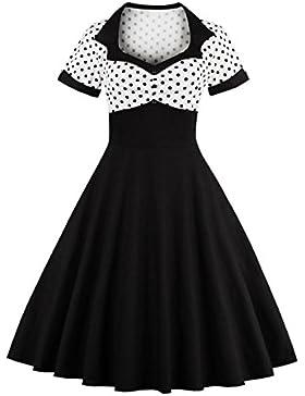 VKStar® Vintage 1950s Cocktailkleid Kurzarm Abendkleid mit Punkte Rockabilly Swing Kleid