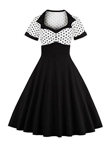 VKStar® Vintage 1950s Cocktailkleid Kurzarm Abendkleid mit Punkte Rockabilly Swing Kleid weiß 4XL Dot Keil