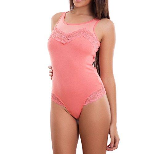 Body donna maglia canottiera dettagli pizzo velato sexy sottogiacca nuovo T6239 [S/M,nero] Corallo