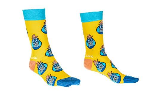 Joan & Fredric Design Socks with Seal Illustrations - Fun Yellow & Blue Fashion Socks with Seal Animations (41-46)