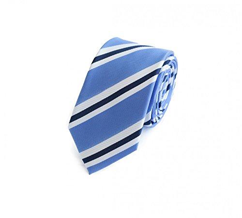 Fabio Farini Schlips Krawatte Krawatten Binder 6cm weiß blau gestreift