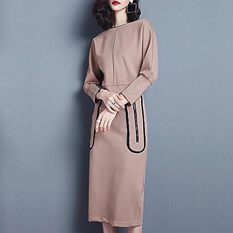 WZH De cuello Bodycon barco de mujeres murciélago manga suéter que hace punto falda vestido paso . khaki . l