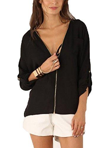 LaoZan Femme T-Shirt Col V Zip Manches Longues Mousseline Blouse Noir