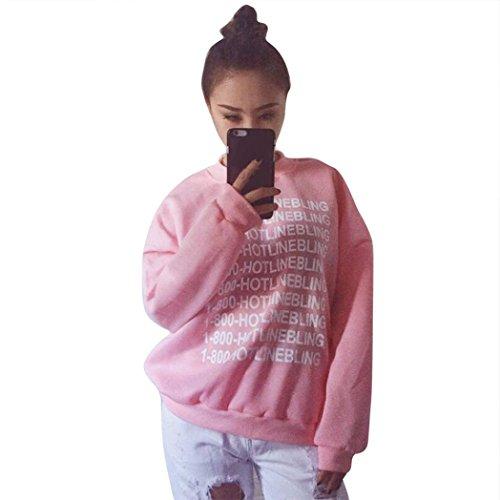 Bellelove Nette Frauen lose lange Hülse gedrucktes Sweatshirt beiläufige warme Oberseiten (M, Rosa) (Popeline-cape)