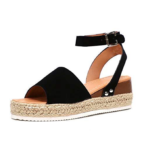 b51295a5 Sandalias Mujer Plataformas Verano Cuña Piel 5 CM Tacon Punta Abierta Plana Tobillo  Zapato De Playa