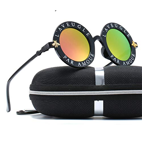 DAIYSNAFDN Runde Buchstaben englische Sonnenbrille Frauen Männer Designer Beschichtung Biene Farbe Objektiv Sonnenbrille Not Include Box N0.2