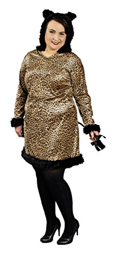Karneval-Klamotten Leoparden-Kostüm mit Kapuze Leoparden-Ohren Plus Size Damen-Kostüm Größe 52/54