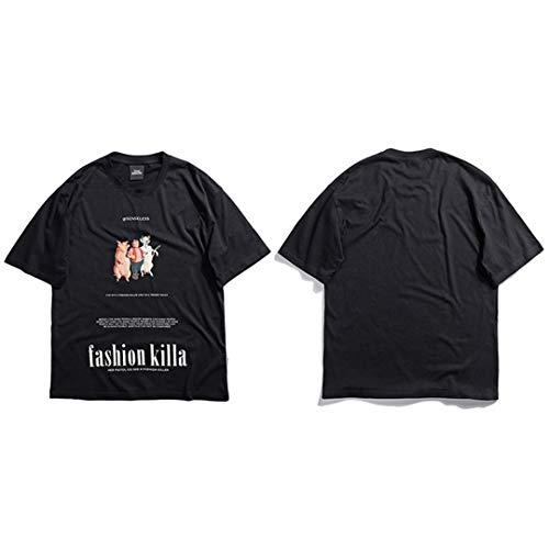 Sommer Hip Hop Streetwear Lustige Schwein Kuh T-Shirt Männer Kurzarm Baumwolle Brief Drucken Tops Tees Harajuku Black L (Kühe, Schweine Kriegen)