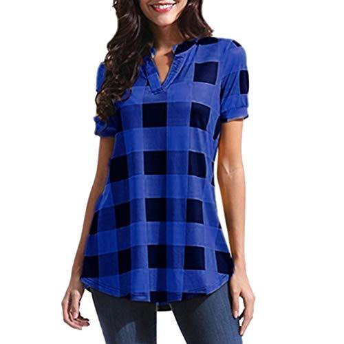 MORCHAN Femmes Casual Plaid Imprimé à Manches Courtes col V Irrégulière Hem Blouse T-Shirt Tops(FR-42/CN-M,Bleu)