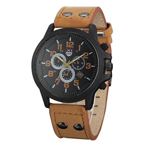 Relojes Hombre,Xinan Bolso de Cuero del Deporte de la Correa Reloj Cuarzo Ejército (Marrón)