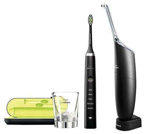 Philips Sonicare DiamondClean Black Spazzolino Elettrico e AirFloss Ultra Black Sistema di Pulizia Interdentale, Pacco Promozionale
