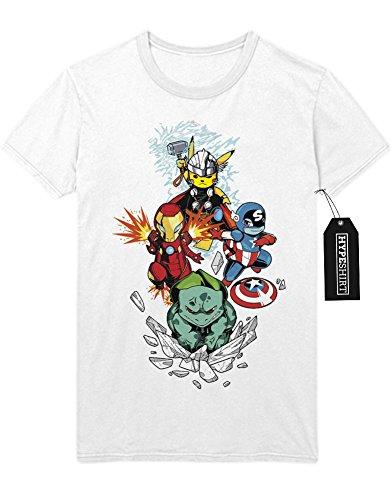 T-Shirt Pokemon Go Pikachu The Avengers Cross Over Hulk Iron Man Captain America Thor Team Rocket Jessie James Mauzi Kanto 1996 Blue Version Pokeball Catch 'Em All Hype C210017 Weiß M