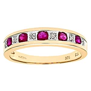 Naava Women's Eternity Ring, 9 ct Yellow Gold Diamond and Ruby Ring, Channel Set