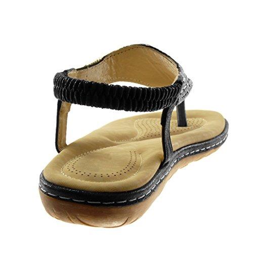 Angkorly - Chaussure Mode Sandale Tong slip-on salomés lanière cheville femme strass diamant bijoux brillant Talon plat 2.5 CM - NpGcs86e