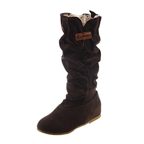 Bottes - SODIAL(R)Nouvelles Bottes chaudes de mi mollet a la mode Casual hautes bottes au genou cafe 38