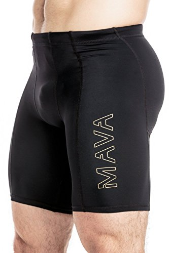 Mava kurze Kompressions-Leggings für Herren– Leggings für Workouts, Laufen, Radfahren, Sport, Training, Gewichtheben–für jede Wetterlage geeignet Medium schwarz / gold (Ärmel Lange Athleta)