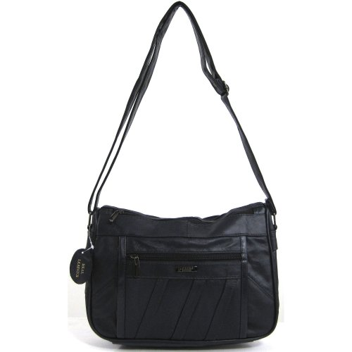- 41r2tsd1jdL - Womens Super Soft Nappa Leather Shoulder Bag / Handbag with Two Main Zipped Compartments ( Navy )