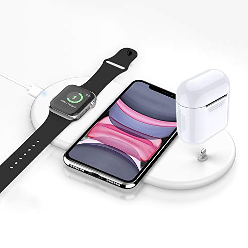 raide Fast Wireless Charger,Schlankes tragbares Ladegerät,kabelloses Wireless Ladegerät kompatibel i\'Watch 5 4 3 2 1 iPhone 11/ Pro/Max/X/XS/XR / 8/8 Plus/AirPods 1 2 Pro and All QI-Enabl