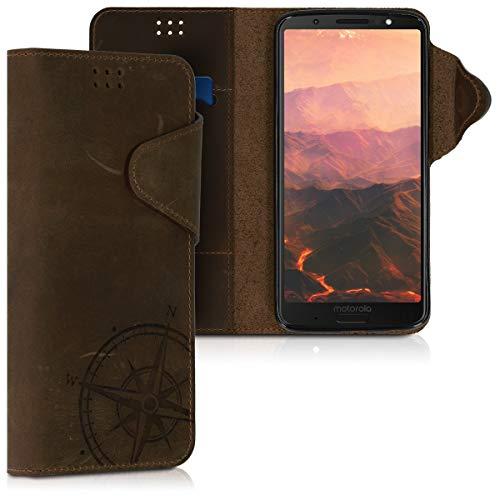 kalibri Motorola Moto G6 Plus Hülle - Leder Handyhülle für Motorola Moto G6 Plus - Handy Wallet Case Cover