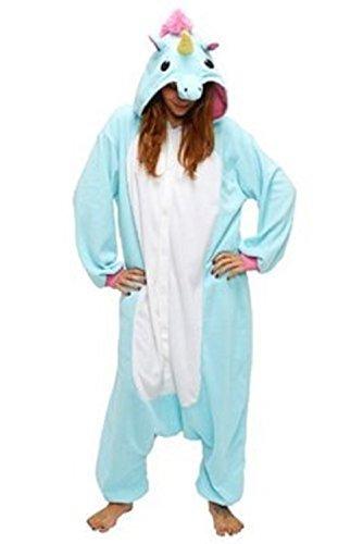 Anbelarui Tier Skelett Pinguin Dinosaurier Panda Einhorn Kostüm Damen Herren Pyjama Jumpsuit Nachtwäsche Halloween Karneval Fasching Cosplay Kleidung S/M/L/XL (S, Blaues Einhorn)