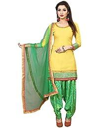 Spangel Fashion Yellow Cotton Silk Salwar Suits/Patiala Dress Material Suit For Women