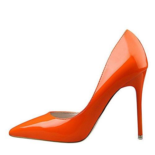 Spitz Auf Orangerot Rein Schuhe lackleder Aalardom Pumps Zehe Damen Ziehen Stiletto E4ZEqR76