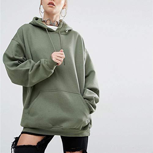 Swallowuk Damen Kapuzenpullover Langarm Sport Hoodie Pullover mit Kapuze Oversize Outwear Pullovershirt Langarmshirt Boyfriend Mantel Tops (L, Armee-Grün) Armee-hoodies
