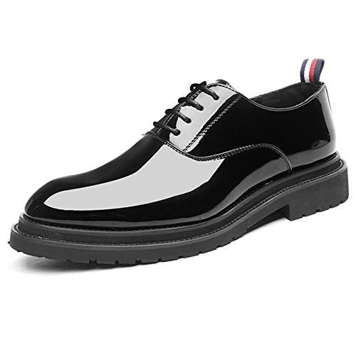 Scarpe in pelle verniciata da uomo stringate scarpe da lavoro di alta qualità da fondotinta scarpe casual da uomo eleganti con punta a punta,black-44