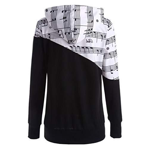 TianWlio Damen Hoodie Frauen Langarm Musical Hinweis Gedruckt Nähen Bluse Tops -