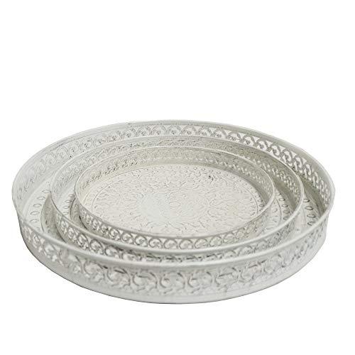 DRULINE Tablett 3er Set Antik Dekoration Serviertablett Ablage Landhaus Stil aus Metall | L x B x H G 40 x 40 x 5cm M 31.5 x 31.5 x 3.5 cm K 25 x 25 x 3 cm | Weiß