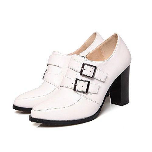 AllhqFashion Femme Pu Cuir à Talon Haut Pointu Couleur Unie Zip Chaussures Légeres Blanc