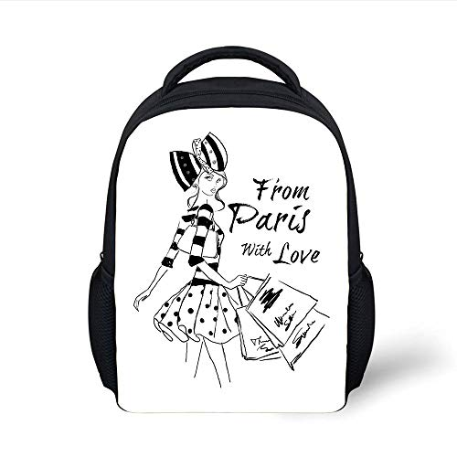 Kids School Backpack Paris,from Paris Love Fashion Hand Drawn Girl Figure Shopping Polka Dot Design Skirt Decorative,Black White Plain Bookbag Travel Daypack
