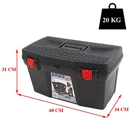 Kunststoff Werkzeugkoffer ERGO Basic 27″, 60x34cm Kasten Werzeugkiste Sortimentskasten Werkzeugkasten Anglerkoffer - 2