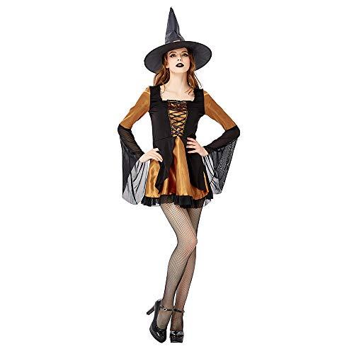 Damen Halloween Kostüm Nightclub DS Maskerade Kostüm Hexenspiel Kostüm Kleid (inkl. Rock + Hut),Brass,S - Brass Cocktail