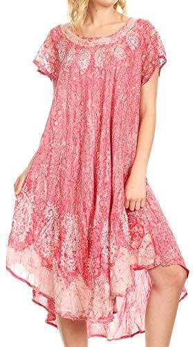 Gesticktes Langes Kleid (Sakkas 15900 - Bree Lange gestickte Flügelärmeln marmorierte Kleid-Orchidee-OS)
