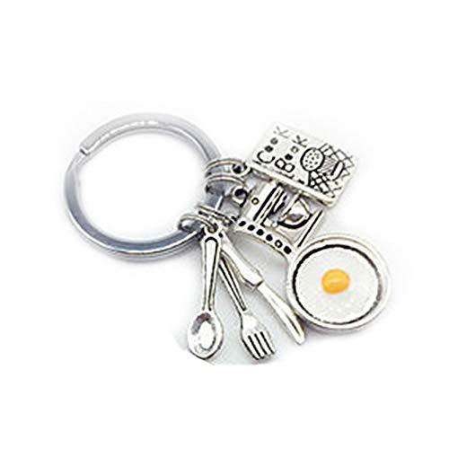 Llavero de cocinero con diseño de cocinero para regalo de cocinero, cuchara, llavero, tenedor, llavero, diseño de huevo frito
