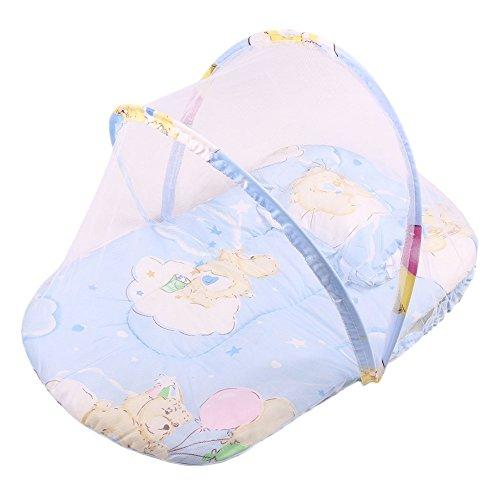 Culla portatile pieghevole lettino da viaggio bed baldacchino della tenda zanzariera con il cuscino (blu)