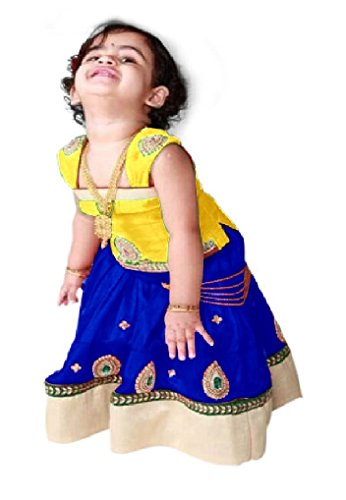 Cartyshop Baby Girl's Yellow N Royal Blue Pure Glace Cotton ReadyMade Lehenga...