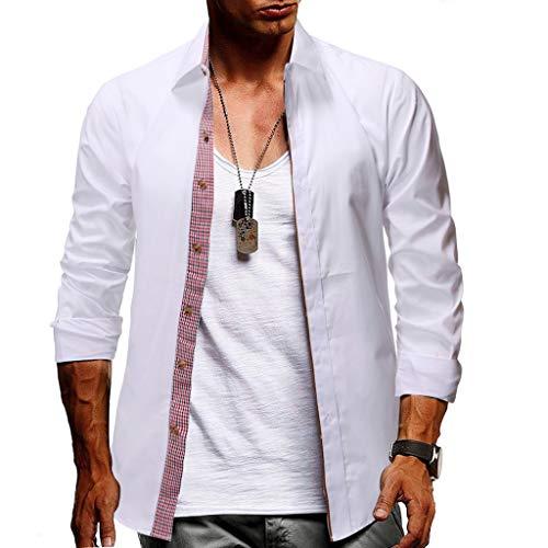 Yvelands Herren Mode Revers Shirt Langarm Plaid Button Large Größe Casual Top Bluse Shirts(Weiß,M) -