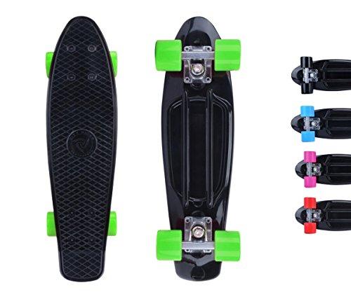 Preisvergleich Produktbild City RiderTM Skateboard Schwarz-Original Mini Cruiser Skateboard 22 Zoll / 57 cm - Retro Skateboards für Mädchen und Jungs