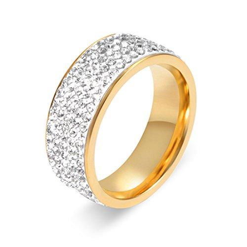 wortek Ring Damenring Edelstahl Stainless Steel Fingerring für Damen verziert mit geschliffenen Strass-Steinen Diamant-Imitate Verlobungsring US-Größe 9 Durchmesser 19mm Umfang 60mm Farbe Gold Elektronik 19