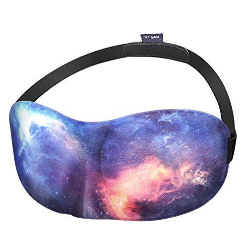 Fintie Schlafmaske - [lichtundurchlässig, Augenbinde] 3D konturierte weiche, bequeme Schlafmaske mit verstellbarem Klettband für Reisen, Nickerchen, Schichtarbeit und als Schlafhilfe, Die Galaxie