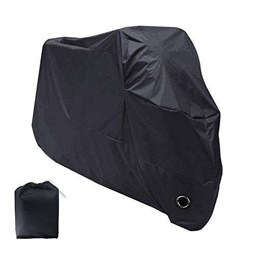 Bermud Motorrad Garage Ganzgarage Abdeckplane Plane Faltgarage Schutz Cover mit Tasche, UV-Schutz Wasserdicht Staub Einfrieren regen und Sonne aus 210D Polyester Größe XXL 265x105x125cm,Schwarz