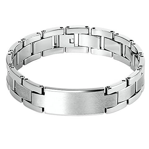 Epinki Herren Armband, Edelstahl Biker Herrenarmband Link Tag Fahrradkette Poliert Motorradkette Silber 20.3 CM