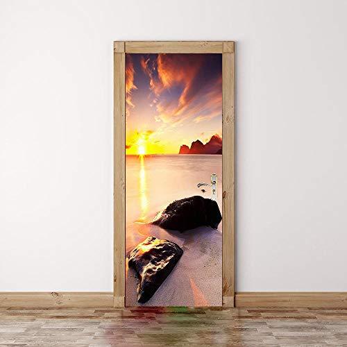DNFurniture Beach Rock Nach Hause PVC europäische tapete Landschaft Urlaub Aufkleber wandaufkleber Geschenk dreidimensional wandbild DIY 77X200CM Voller Rock Wrap