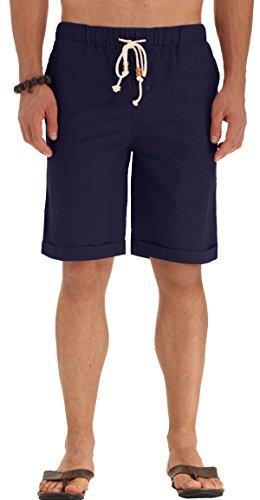 POSESHE Herren Drawstring Elastisch Leinen Sommer Beach Knielang Hosen (Navy blau L)