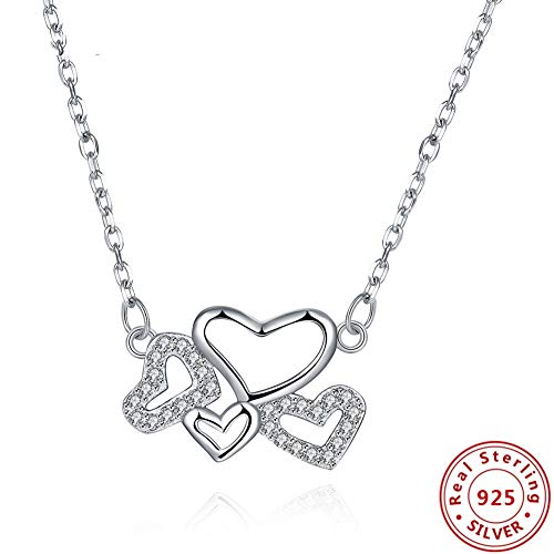 ZWB Schmuck Ketten Necklaces Halsketten 925 Sterling Silber Herzen Anhänger Halsketten Edlen Schmuck Gliederkette Halsketten Für Frauen Party Geschenk